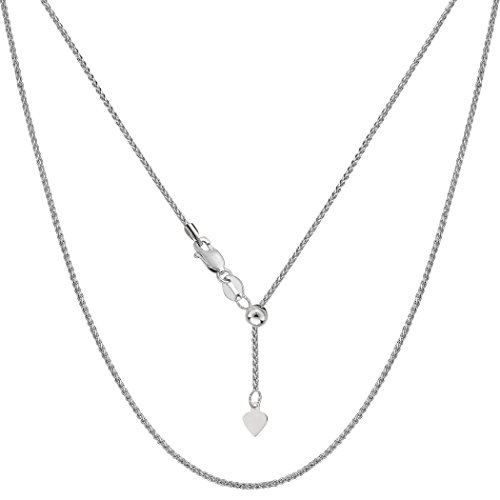 - 14k White Gold Adjustable Wheat Chain Necklace, 1.0mm, 22