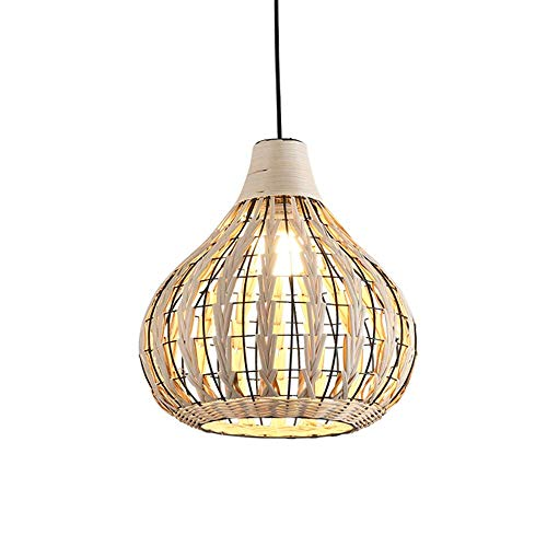 Wsxxn Southeast Asian Rural Style Pendant Ceiling Light Simple Rattan Bird Cage Chandelier Living Room Dining Room Study Teahouse Club Rattan Hand-Woven Hanging Lamp Farmhouse Rattan Lighting