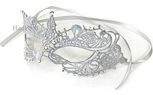 50 Shades Of Grey Halloween Costumes - Fifty Shades Darker Anastasia Steele Sexy Lace Masquerade Eye Mask (Silver with Crystals)