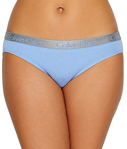 (Calvin Klein Women's Radiant Cotton Bikini Panty, Sensory Blue, XL)