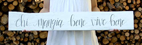 (Venu67Hol Italian Kitchen Sign Live Well Eat Well Sign Chi Mangia Bene Vive Bene Wood Plaque Sign Italian Phrase Italian Kitchen Decor Kitchen)