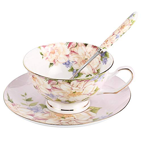 JinGlory Pink Tea Cup,Floral Tea Cup and Saucer Set with Spoon,Bone China Tea Set,Coffee Cup,Tea Set for Adults/Friends/Women/Men,7OZ ()