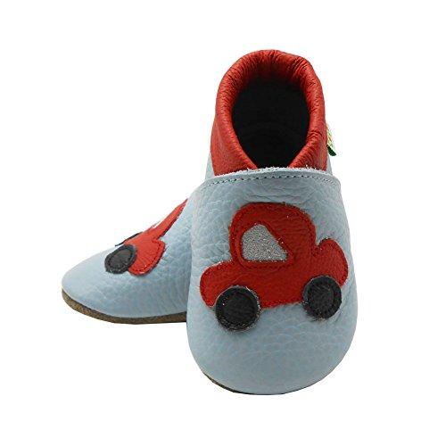 Sayoyo Suaves Zapatos De Cuero Del Bebé Zapatillas coche gris
