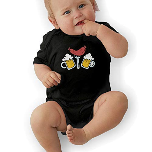 Hot Dog Beer Sausage Baby Clothes Newborn Boys Girls Short-Sleeve Romper Bodysuit Onesies Black