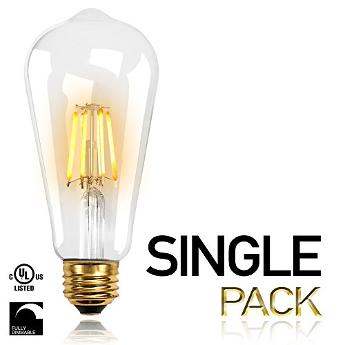 Replace Incandescent Led - NITOR Lighting ST64 LED Filament bulb, Vintage Edison LED light bulb, DIMMABLE LED, 6W LED ST64 replaces 40W Incandescent bulbs, 600 Lumens, E26 Medium Base, COB Technology (2700K 1-PACK)