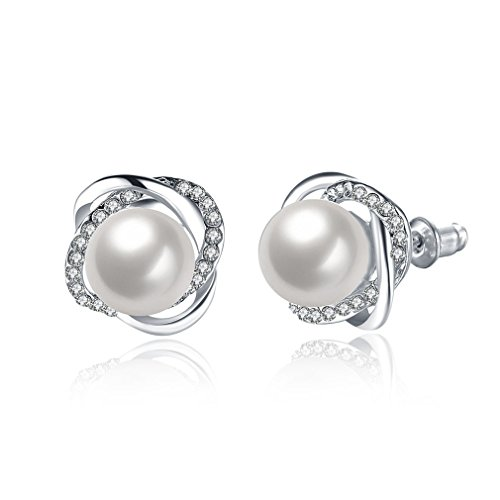 Iumer New Design Rose Pearl Earrings Stud Cubic Pearl Stud Earrings For Women Jewelry