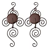 TYZT Classic Handmade Iron Wall Hanging Candlestick Candle Holder Sconce for Home Decoration 2 Pieces (Brown)