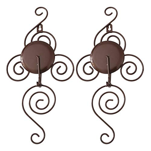 Brown Iron Wall - TYZT Classic Handmade Iron Wall Hanging Candlestick Candle Holder Sconce for Home Decoration 2 Pieces (Brown)