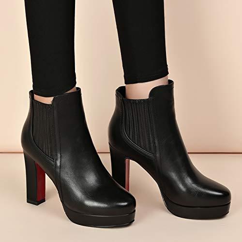 Gli Heeled Di Tallone Sotto Martin Donna Stivali Spesso Velvet Lbtsq Scarpe Pesante Impermeabile High temperamento Black Da Donne 10cm 6xn87