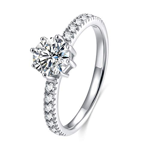 SOMEN TUNGSTEN 925 Sterling Silver Ring Cubic Zirconia Wedding Band Engagement Rings (Sterling Silver, 6) (Engagement Rings Ca)