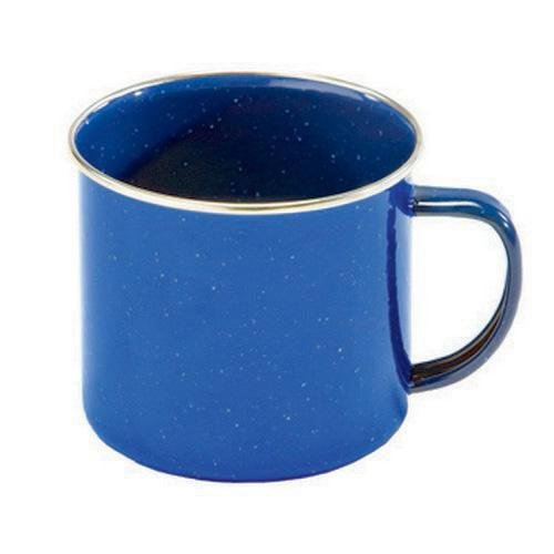 Texsport Enamel Coffee Cup Mug with Stainless Steel Rim, Blue (Stainless Steel Rim Enamelware Cup)