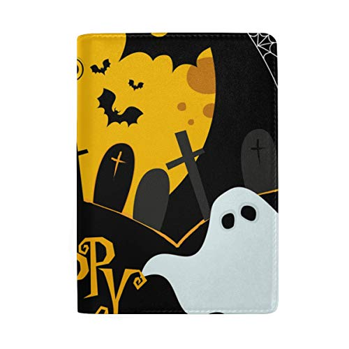 Halloween Pattern Moonlight Lovely Pumpkin Spooky Bat Leather Passport Holder Cover Case Protector for Men Women Travel with Slots