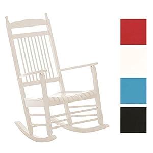 CLP Fauteuil à bascule en bois MARISSA, confortable et élégant de détente, idéal pour terrasse, balcon, jardin et salle de séjour, hauteur d'assise 47 cm blanc