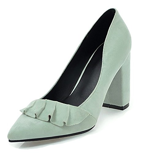 Mujeres De La Elegante De La Fiesta De La ColHombresa De Nupcial Del Dedo Del Pie Acentuado Nupcial De Corte Bajo Elegante Del Tacón Alto Del Bloque En Las Bombas Zapatos Verdes