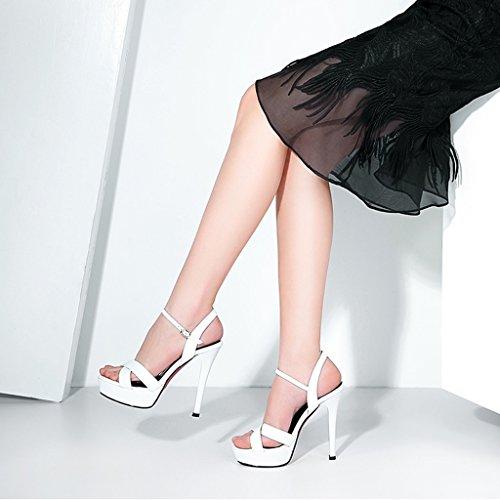 5 à Forme Sexy cm à Chaussures Boucle Plate 12 Blanc Talons Hauts à Sandales Femme wysm Hauts L'Eau Talons Imperméable 8qRR67
