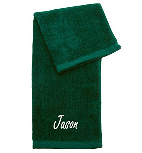Personalized Embroidered 100% Terry Velour Cotton Hemmed Tri-Fold Golf Towel Green (Tri Fold Towel Velour)