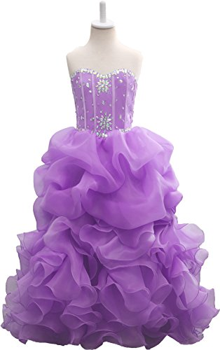 Onlybridal Women's Beaded Organza Flower Girl Dress Ball Gown Quinceanera Dresses For Little Girls Little Lady Flower Girl Dresses