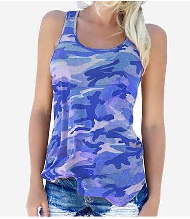 IYFBXl Camiseta de Tirantes sin Costuras en algodón básica/Militar para Mujer - Camuflaje sin Respaldo/Estampado/Verano, Azul, S: Amazon.es: Deportes y aire libre