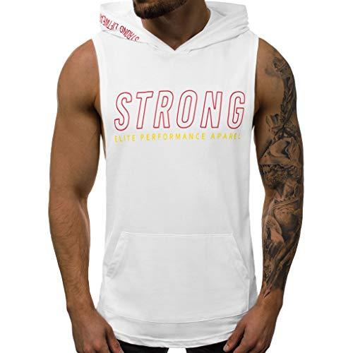 SHUBHU Men's Sleeveless Letter Printing Tank Top Hooded Shirt Vest (White, -