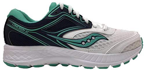 Saucony Women's VERSAFOAM Cohesion 12 Road Running Shoe, White/Black/Teal 8.5 M US