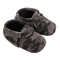 Sunward Baby Camouflage Tassel Soft Sole Anti-slip Leather Shoes Infant Moccasin (11CM(Suggest 3-6 months), Gray)
