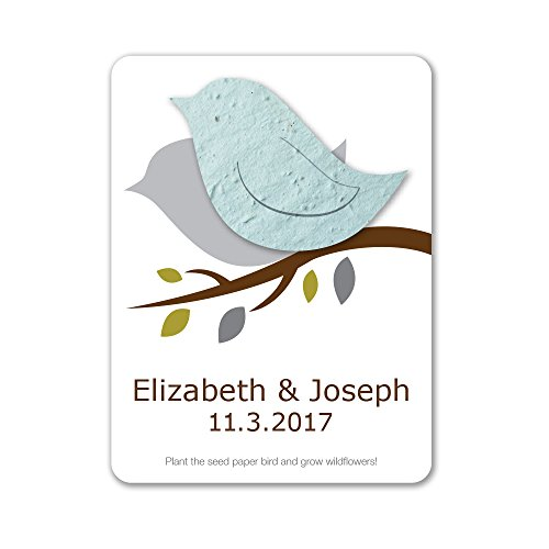 Bloomin Plantable Love Bird Wedding Favor with Seed Paper - Powder Blue (25 Card Set)