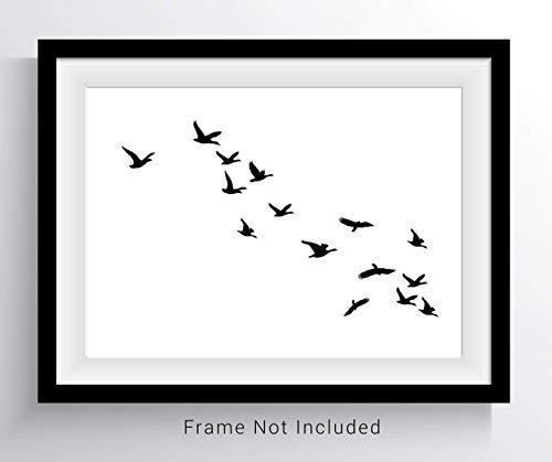 Bird Art Prints Modern Minimal Art Wall Art 8x10 Prints Set Birds Poster Black White Minimalist Home Office Art Kitchen Art Gift for Her