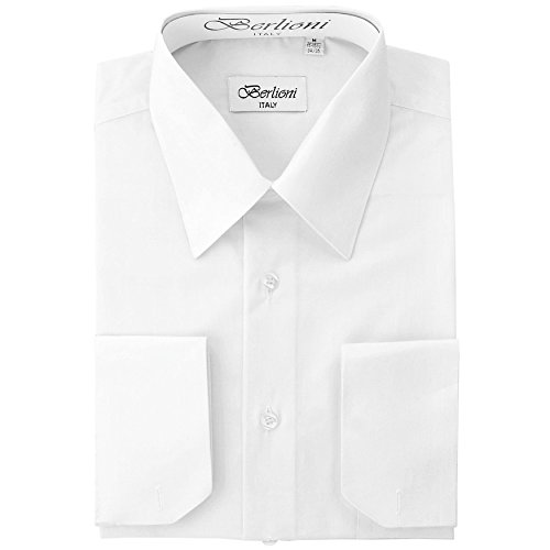 Men's Dress Shirt - Convertible French Cuffs - White, Large,