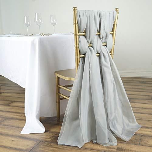 - Efavormart 5 Pack 6 Ft Silver DIY Premium Chiffon Designer Chair Sashes for Wedding Banquet Decor Chair Bow Sash Party