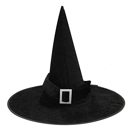 Hag Witch Hat Mask & Costumes - Halloween Witch Black Pointy Hat Adult Kids Costume - Beldame Enchantress Lid Crone Chapeau - (Dumbledore Mask)