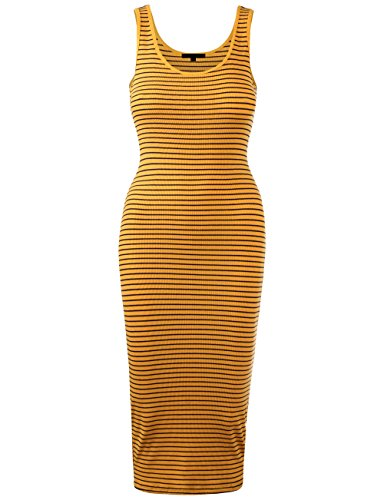KOOLDO Womens Line Striped Rib Jersey Boat Neck Tank Top Midi Dress-S-YELLOW_NAVY