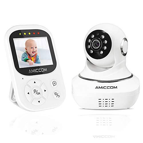 Video Baby Monitor with Camera - Motorized 355° Pan with a 105° Tilt, 2.4 inch Color LED Screen, HD Night Vision Camera, 960ft Transmission Range, Temperature Monitoring