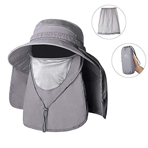 (Unigear Sun Hat, UPF 50+ Sun Protection Wide Brim Bucket Hat with Removable Mosquito Net and Neck Face Flap, Breathable Packable for Safari, Fishing, Hiking, Gardening, for Men & Women (Light Gray))