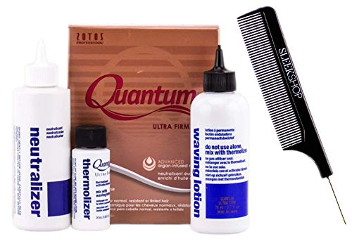 Zotos QUANTUM ULTRA FIRM Exothermic Perm, ULTRA FIRM CURLS, for Normal, Resistant or Tinted Hair (with Sleek Steel Pin Tail Comb) Gold Argan-Infused (ULTRA-FIRM/GOLD BOX) (Quantum Firm Perm)