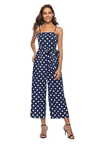 (FairyMei Women's Striped Waist Belted Back Wide Leg Casual Loose Polka Dot Jumpsuit Rompers with Floral Print Pleated mid Dress(S,Blue))