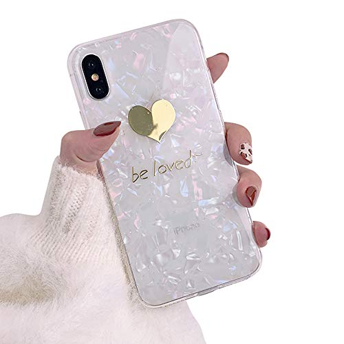 Gold Love Heart Pattern Translucent Design Phone Case for iPhone Xs, MAYCARI Sparkling Shiny Soft TPU Back Cover Cute Slim Fit Full Protection Cover for Girls Women (Colorful)