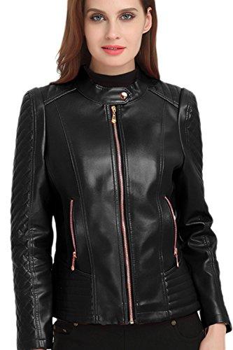 PU Chaqueta Stand Cremallera Delgado Elegante Outwear Mujer Cuello negro Motero Calida La 1UHOpq
