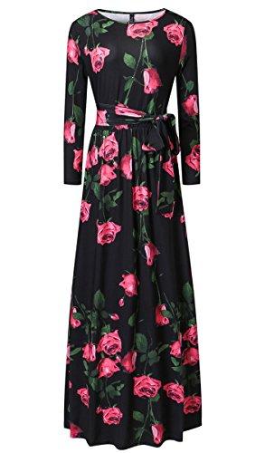 Long 4 Floral Floor Sleeve Maxi Black Length Dress 3 Printed Dress Women's Aecibzo Cq5tnUt
