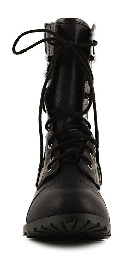 Soda Frauen Oracle Lace-up Combat Gefaltete Manschette Riding Mid-Calf Stiefel Schwarz