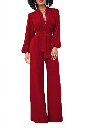 Women's Sexy Solid Jumpsuits Fashion V Neck Buttons Wide Leg Long Sleeve Pockets High Waisted Belted Flare Romper Pants Size L Red