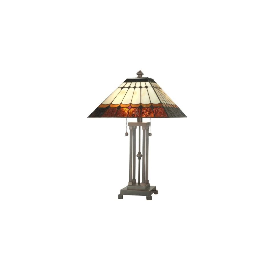 Dale Tiffany 101116 Antique Bronze Mission Diamond Mission Table Lamp from the Mission Collection