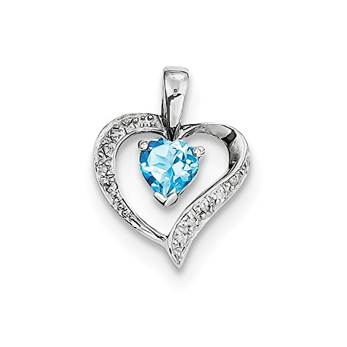 925 Sterling Silver Heart Swiss Blue Topaz Diamond Pendant Charm Necklace Gemstone Love Fine Jewelry Gifts For Women For Her ()
