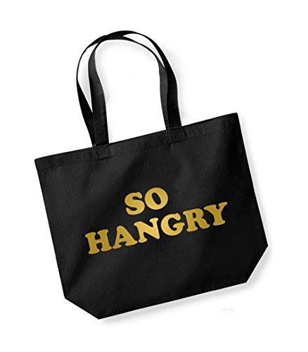 So Hangry- Large Canvas Fun Slogan Tote Bag Black/Gold