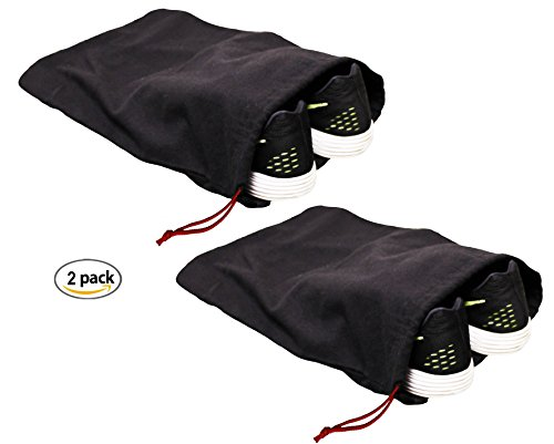 "Earthwise 100% Cotton Shoe Storage Bags For Men/Women with Drawstring in Black. MADE IN THE USA. Great for Travel. Each Black bag holds one pair of shoes. 17"" X 12"" MACHINE WASHABLE ( 2 Pack )"