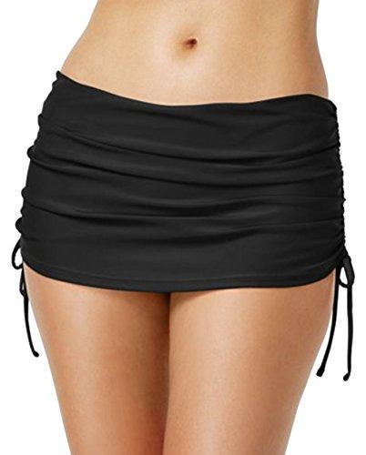 Island Escape Womens Ruched Swim Skirt Swimsuit Bottom, Black, 12