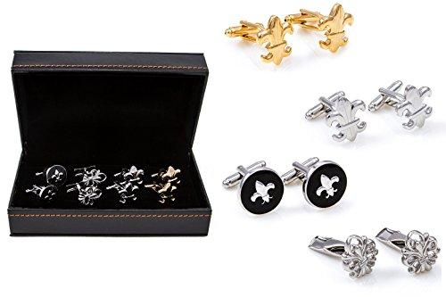 MRCUFF Fleur-de-lys Fleur De Lis 4 Pairs Cufflinks in a Presentation Gift Box & Polishing Cloth