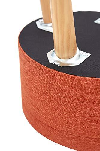 Ottoman Pouf Repose Pied Rond Pouffe Tabouret Coffre De Rangement en Tissu Linge Tabourets avec Couvercle Bas Design De Salon Pieds en Bois Massif Orange