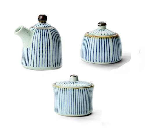 Astra Gourmet Set of 3 Ceramic Food Storage Containers Perfect Canister for Sugar Bowl Serving Tea, Coffee, Spice- Condiment -