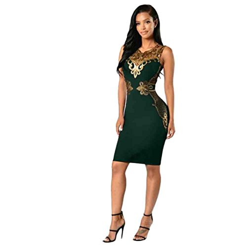 Hot Sale ! New Fashion Women Lace Bodycon Dress Slim Sleeveless Dress, Ninasill Beautiful Evening Party Cocktail Pencil Mini Dress (L, Green)