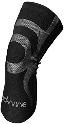 BODYVINE Unisex – Erwachsene Triple 3-Lagen Kompressions Knie Bandage mit Power-Band Compression Taping, Grau, S